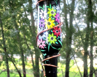 Hummingbird Feeder, Small Bird Feeder,  Recycled Amber Beer Bottle,  Hand Painted, Colorful Flowers, Copper Wire Wrapped