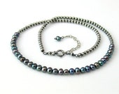 RESERVED LISTING Dark Peacock Pearl Choker, Freshwater Pearls on Sterling Beaded Chain, Pearl Necklace, WillOaks Signature Piece