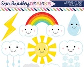 50% OFF SALE Weather Clipart Graphics Digital Clip Art Sun Rainbow Clouds Lightning Bold Raindrop Shower Clouds Instant Download Commercial
