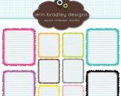 50% OFF SALE Square Notepaper Doodles Clipart Clip Art Personal & Commercial Use Digital Scrapbooking