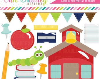 School Clipart Digital Graphics Set Bookworm Schoolhouse Apple Bunting Books Paper Teachers Clip Art Graphics Instant Download