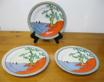 Vintage Hand painted Asian Decorative Plates Sailboats Ocean Bonsai Tree MIJ 1960's