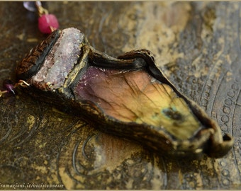 Rainbow Labradorite Aurora Borealis purple labradorite - Wood Nymph  amulet  with Amethyst necklace - handsculpted - Handmade jewelry sculpt