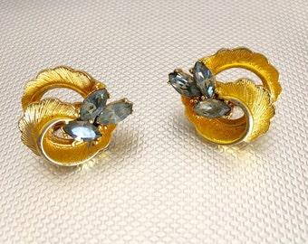 Coro Rhinestone Gold Clip Earrings/ Gray Green Rhinestone/1940s Costume Jewelry/Signed Jewelry