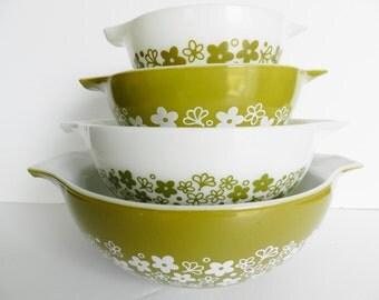 Avocado Pyrex Bowl Set, Spring Blossom Bowls, Crazy Daisy Bowls, Green Cinderella Bowls