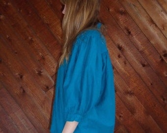 30% off ... Turquoise Bell Sleeve Babydoll Peasant Blouse Shirt - Vintage 80s - MEDIUM  M