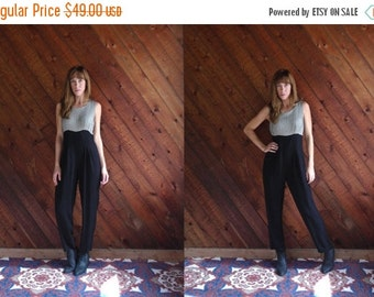 30% off ... Black and Grey Gingham Checked Sleeveless Empire Waist Jumpsuit - Vintage 90s - XS S