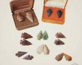 Arrowhead Studs Flint Stone Earrings