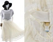 Gunne Sax Skirt Vintage 70s Ivory Linen Lace Full Skirt