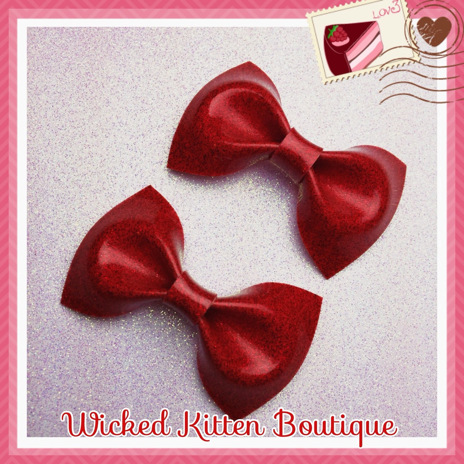 Glitter Vinyl Hair Bows 2 Small Red Rockabilly Bow Pinup Girl