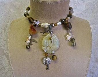 Creatures Big and Small: Tribal Choker Vintage Assemblage TOTEM Protection Necklace Glass Beads Agate Fish Bird Elephant Turtle Tiger Eye