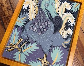 Dodo Woodcut Framed in Dark Yellow Tiger Maple