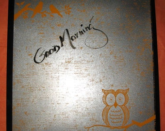 Wise Owl / Magnet Dry Erase Steel Memo Board / Housewarming Hostess Gift / Office Decor / Wall Hanging / Organization / Message Board