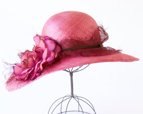 Wide Brimmed Straw Hat Pink Straw Hat 1920s Women's Hat Great Gatsby Hat Mother's Day Picture Hat Wedding Hat Tea Party Hat Garden Party Hat