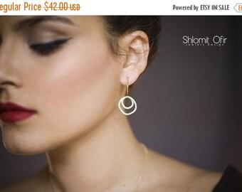 Sale 20% OFF Double Circles Hoop Earrings in Gold