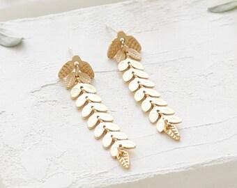 Evergreen Earrings, Link Earrings, Dangle Earrings, Leaves Earrings, Modern Gold Plated Earrings, Silver Plated Earrings