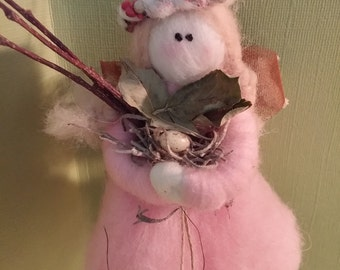 Pink Felted Wool Woodland Fairy - NEW