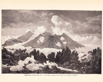 1897 World History Print - Icelandic Landscape Crater of Mount Hecla - Vintage Antique Art PrintGreat for Framing 100 Years Old