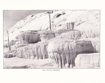 1900 Landscape Photograph - Pulpit Terrace Mammoth Hot Springs Yellowstone National Park - Antique Vintage Nature Art Framing 100 Years Old