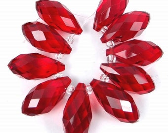 20x9mm Ruby Glass Quart Faceted Teardrop Beads (10) (e7692)