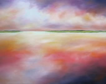 Large painting, modern landscape, marsh painting, clouds, cloud painting, purple, low country, coastal decor, Purple Sky Marsh, 24x36