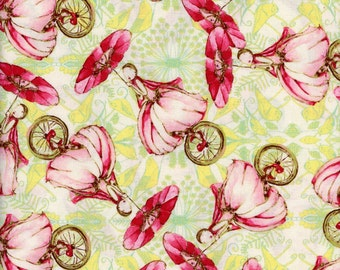 Tina Givens Fabric Unicycle Play in Strawberry from the Riddles and Rhymes Collection