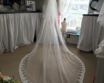 GORGEOUS Wedding Veil with Lace, Long Bridal Veil