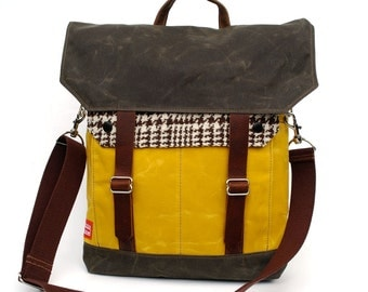 Waxed Canvas Messenger Bag / Banana Houndstooth Reclaimed Wool with Oiled Leather