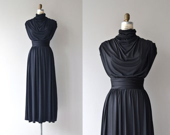 Olympia maxi dress | vintage 1970s maxi dress | black 70s grecian dress
