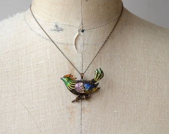 Magic Rooster spanish silver necklace | vintage 1940s enamel pendant | painted enamel animal 40s necklace