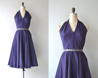 Party Line dress | vintage 1950s dress | 50s halter dress