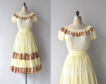 Gypsy Eyes dress | vintage 1950s dress | 50s blouse and skirt