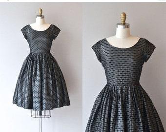 25% OFF SALE Metal Knit dress   vintage 1950s metallic dress • vintage 50s dress