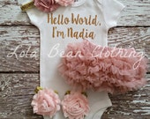 Take Home Outfit Newborn Baby Girl Hello World Bodysuit Bloomers Headband Sandals Set Dusty Rose