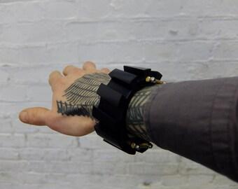 industrial cuff bracelet, brutalist, futurist, modern, black anodised, one off