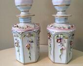 Vintage Irice Hand Painted Porcelain Perfume Bottles Set of 2