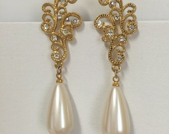 Vintage Faux Pearl And Rhinestone Earrings,Never Worn