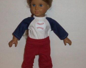 18 inch Doll Baseball Uniform,  Red Pants, White Blue Shirt, Cotton Socks, Sports Outfit, American Made, Girl Doll Clothes