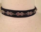 Leather  choker, black cowhide, jemstone, costume