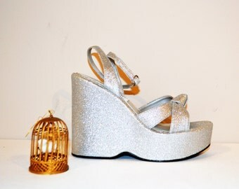 Vintage Shoe Disco to Party Club Silver Platform