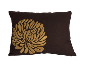 Hibiscus Throw Pillow Cover 18 X 18 Embroidered By Kainkain