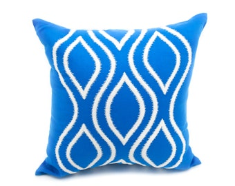 Ikat Decorative Pillow Cover, Throw Pillow Cover, Blue Linen Pillow, Silver Ikat Embroidery, Ikat Pillow Case, Couch Pillow, Accent Pillow