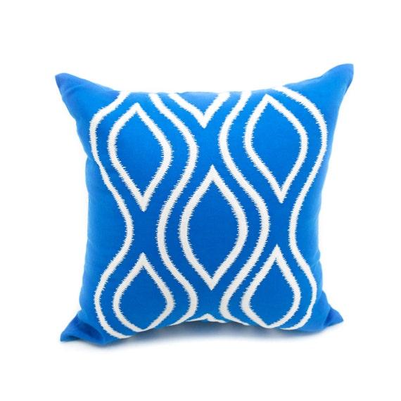 Ikat Decorative Pillow Cover Throw Pillow Cover Blue Linen