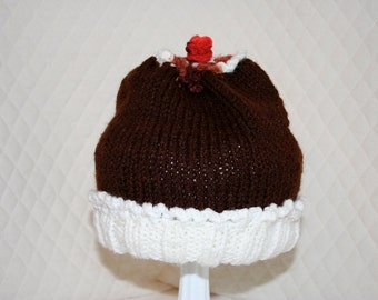 Knitted Chocolate Sunday Cherry on Top Hat