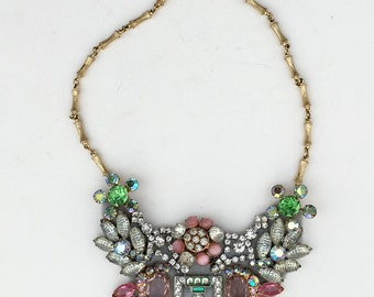 Colorful Garden Party Statement Necklace in Pink, Green & Aqua - Heirloom Collection