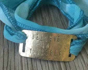 Teal wrap bracelet copper handstamped with believe in yoursel inspirational gift for her stackable bracelet