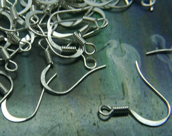 Silver Plated Earwire - Flattened fishhook with coil Nickel Free 50, 100pc