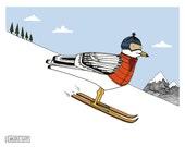 Ski Gull nursery art. Sea gull on skis. kids room art. boys room art. girls room art. nursery decor. animal nursery art