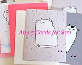 MIXED CARD SET- Choose any 5 cards for 20 dollars- Cat Cards