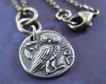 Owl Charm Necklace, Handmade Yoga Jewelry, Sterling Silver Necklace, Metal Clay Jewelry